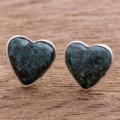 Dark green jade heart earrings, 'Love Sacred' - Dark Green Jade Heart Earrings Artisan Crafted Jewelry