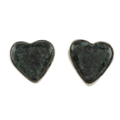 Dark Green Jade Heart Earrings Artisan Crafted Jewelry