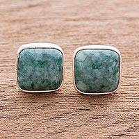 Jade button earrings, 'Life Divine' - Jade jewellery Artisan Crafted Earrings