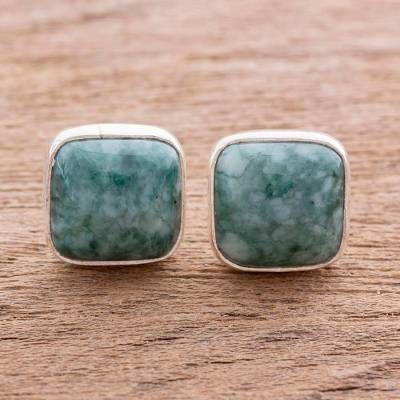 Jade button earrings, 'Life Divine' - Jade Jewelry Artisan Crafted Earrings