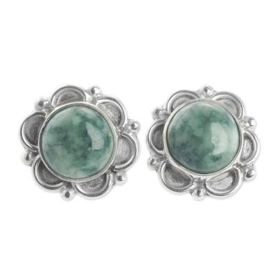 Guatemalan Hand Crafted Light Green Jade Earrings