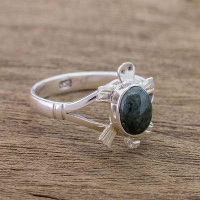 engraved rings men - Sterling Silver Ring with Jade Artisan Crafted Jewelry