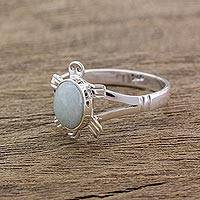 Jade cocktail ring, 'Light Green Marine Turtle' - Guatemalan Handcrafted Light Green Jade Ring
