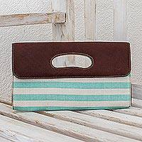 Cotton and leather accent clutch bag, 'Mint Horizon' - Handwoven Cotton and Leather Accent Clutch Bag