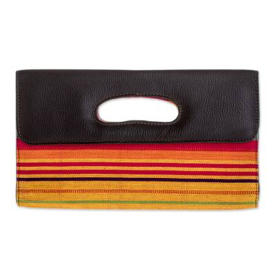 Handwoven Cotton and Leather Accent Clutch Bag