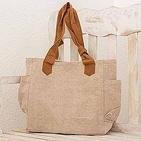 Cotton tote handbag, 'Cocoa Bean' - Dye-Free Natural Cotton Handbag