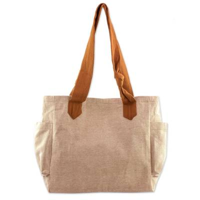 Cotton tote handbag, 'Cocoa Bean' - Handwoven Natural Tan Cotton Tote Handbag
