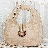 Cotton hobo handbag, 'Natural Herringbone' - Handwoven Natural Brown Herringbone Cotton Hobo Handbag