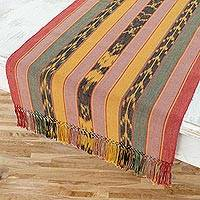 Cotton table runner, 'Forest Dawn' - Handwoven Cotton Runner Table Linen