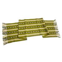 Cotton table runner, 'Wild Olive' - Guatemalan Handwoven Cotton Table Runner