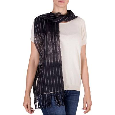 Cotton scarf, 'Starry Sky' - Handwoven Black and White Cotton Scarf