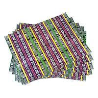Wrapping paper, 'Almolonga' (6 sheets) - Guatemalan Maya Weaving Motif Wrapping Paper