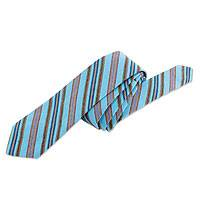 Cotton necktie and handkerchief, 'Lagoon' - Maya Cotton Tie and Handkerchief Set
