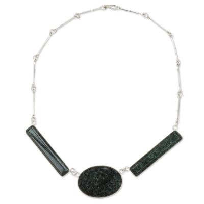 Hand Crafted Guatemalan Jade and Silver Necklace