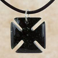 Men's jade pendant necklace, 'Pattee Cross' - Men's Dark Green Jade Maltese Cross Necklace