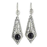 Black jade dangle earrings,