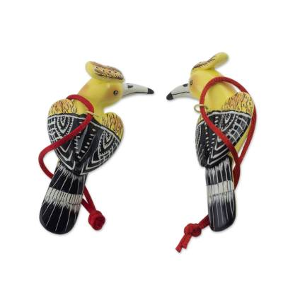 2 Blond Crest Woodpecker Ceramic Bird Ornaments