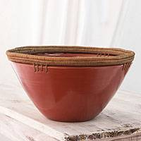 Ceramic decorative bowl, 'Forest Secret' - Nicaragua Handmade Ceramic Decorative Bowl with Pine Needles