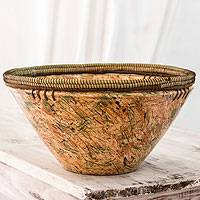 Ceramic decorative bowl, 'Autumn Forest' - Orange and Green Handcrafted Ceramic Decorative Bowl