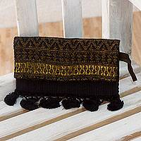Leather accent cotton wristlet handbag, 'Golden Starlight' - Black and Gold Backstrap Loom Cotton Trim Leather Wristlet