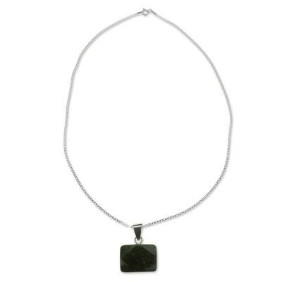 Dark Green Jade and Sterling Silver Handcrafted Necklace