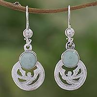 Light green jade dangle earrings, 'Quetzal Patriot' - Fair Trade jewellery Jade and Sterling Silver Earrings