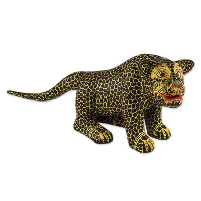Wood sculpture, 'Balam' - Hand-carved Maya Jaguar Wood Sculpture