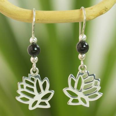 Jade flower earrings, 'Flower of the Lotus' - Guatemalan Black Jade Lotus Earrings