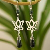 Jade flower earrings, 'Lotus Shadow' - Dark Green Jade Lotus Earrings
