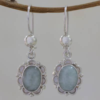 Jade flower dangle earrings, 'Apple Princess of the Forest' - Artisan Crafted Jade and Sterling Silver Earrings