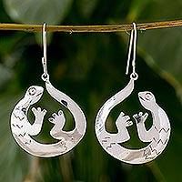 Sterling silver dangle earrings, 'Tropical Gecko' - Hand Engraved Silver Earrings