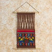 Cotton wall hanging, 'Comalapa Peacocks' - Hand Loomed Cotton Wall Hanging