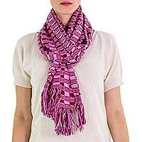 Cotton scarf, 'Exotic in Purple Maroon' - Guatemalan Hand-woven Cotton Scarf
