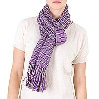 Cotton scarf, 'Exotic in Purple Grey' - Hand Loomed Cotton Scarf