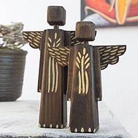 Wood sculptures, 'Angel Blessings' (pair) - Hand Crafted Modern Angel Sculptures (Pair)