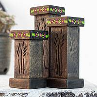 Wood tealight candleholders, 'Canaan's Wheat' (set of 3) - 3 Hand Carved Tea Light Holders Set