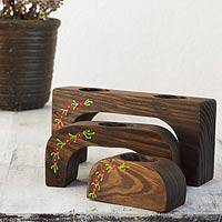 Wood tealight candleholders, 'Fuchsia Petals' (set of 3) - 3 Nesting Tea Light Holders