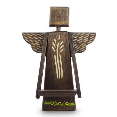 Wood wall sculpture, 'Angel Blessings' - Angel Wall Sculpture