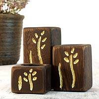 Wood tealight candleholders, 'New Life' (set of 3) - 3 Modern Hand Carved Tea Light Holders Set