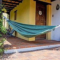 Cotton hammock, 'Quetzal Dreams' (single ) - Hand Woven Natural Dyes Green Cotton Hammock (Single)