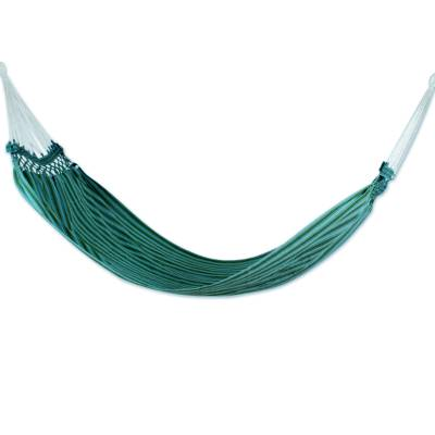 Hand Woven Natural Dyes Green Cotton Hammock (Single)