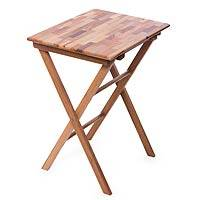 Wood mosaic folding table, 'Laurel Nature' - Wood Parquet Folding Accent Table