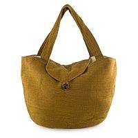 Cotton hobo bag, 'Mahogany Marigold' - Guatemalan Hand Woven Cotton Hobo Bag with Natural Dyes