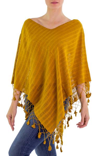 Guatemalan Dark Yellow Handwoven Cotton Poncho