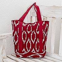 Cotton tote shoulder bag, 'Ruby Maya' - Hand Made Central American Cotton Tote Handbag