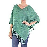 Cotton poncho, Jade Serenade