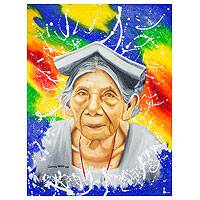 'Impressions Across Time' (2014) - Mixed Media Elder Guatemalan Woman's Portrait