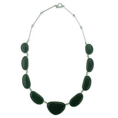 Artisan Crafted Sterling Silver And Jade Pendant Necklace