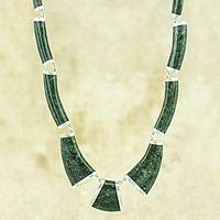 Dark green jade link necklace, 'Queen K'abel' - Dark Green Jade Necklace Handcrafted with Sterling Silver