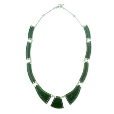 Dark Green Jade Necklace Handcrafted with Sterling Silver